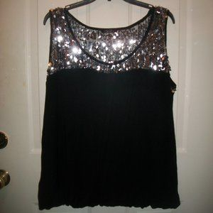 Deb black-silver sequined top size 1X